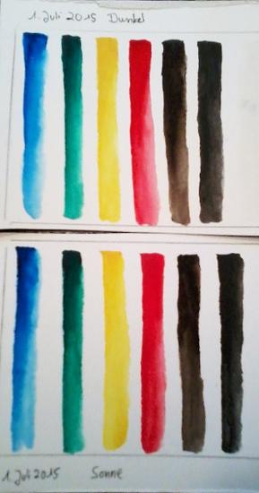 sockenzombie - lichttest aquarell tubenfarben mission gold