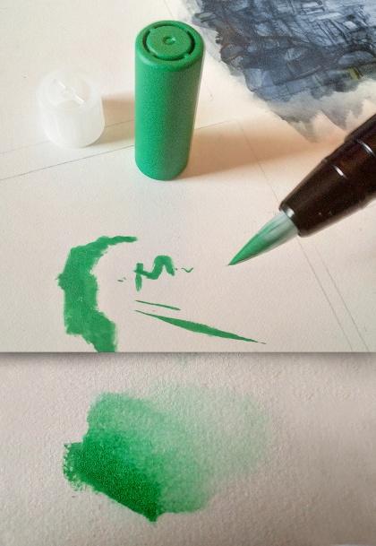 uni posca brush marker grün - sockenzombie