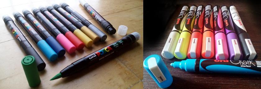 uni chalk marker - uni posca brush - sockenzombie