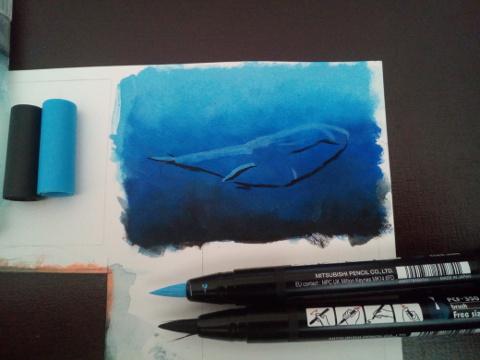 uni brush marker wal blau meer unterwasser - sockenzombie