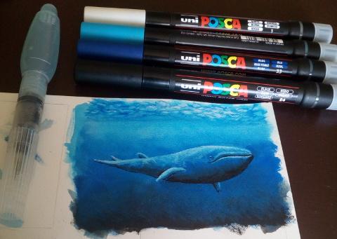 uni posca brush marker - wal - fische unterwasser motiv zeichnen - sockenzombie - kunstkarte kakao karte atc