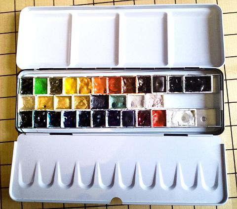 aquarellkasten farbauswahl tubenfarben in nämpfchen + finetec - sockenzombie