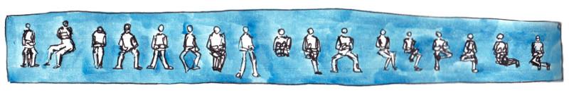 sockenzombie - skizze - sitzende menschen zeichnen