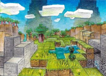 minecraft landschaft mit creeper - fanart von sockenzombie