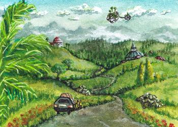 kakaokarte - sockenzombie - miniatur landschaft zeichnen - tutorial