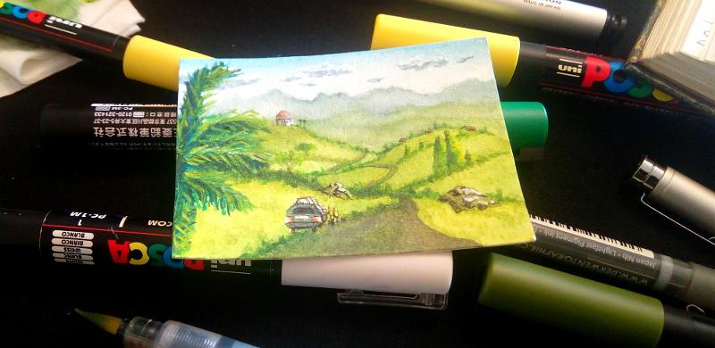 miniaturlandschaft zeichnen - tutorial - kakaokarte - sockenzombie