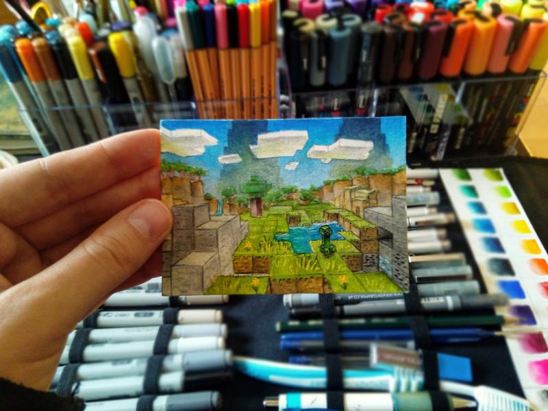 minecraft landschaft von sockenzombie gezeichnet - miniaturlandschaft