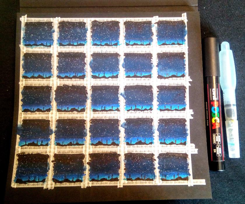 inchies auf schwarzem papier (fabriano) mit posca marker von sockenzombie
