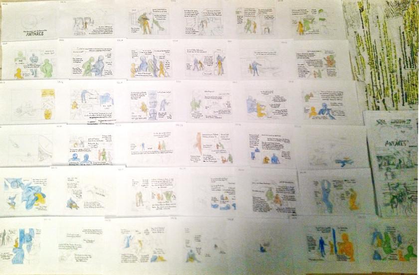 sockenzombie miniaturcomic auf kakaokarten - antares - storyboard