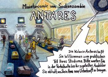 miniaturcomic auf kakaokarten von sockenzombie - seite 1 (antares)