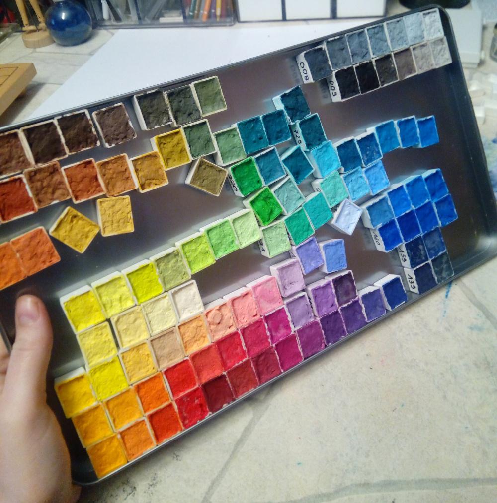 farbkasten zusammenstellen - näpfchen - farben - künstlermaterial - sockenzombie